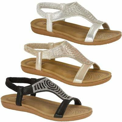 Ladies Low Wedge Fashion Summer Strappy Beach Sandals Gladiator Womens Shoes Siz • 10.95£