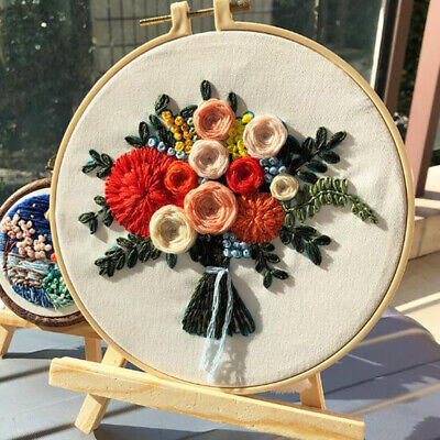 Prettyia Embroidery Starter Kit Flower Cross Craft Stitch Kit DIY Wall Hangs • 6.15£