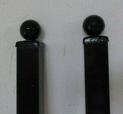 Pair Of Black Painted Metal Gate Posts 2400 X 50 X 50mm With Ball Top Cap • 49£