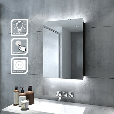 £126.95 • Buy LED Illuminated Bathroom Mirror Cabinet With Shaver Socket Button Switch