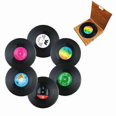 SET OF 6 Boxed Vinyl Records Coasters Place Mats Non-Slip Music Gift Retro New • 4.89£