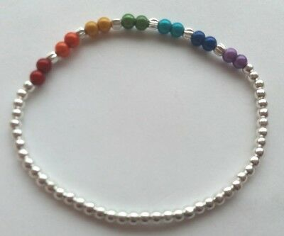 Rainbow Healing Chakra Miracle Bead Stretch / Stretchy Stacking Bracelet B031 • 3.25£