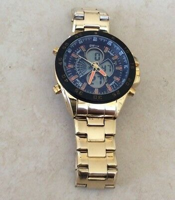 Daniel Steiger Men's Watch Lazer Blue Analog & Digital Display Gold Linked Band! • 125.10$