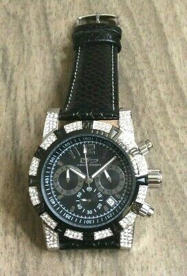 Daniel Steiger Men's Watch Rialto Crystal Black Dial On Black Leather Band New! • 126$