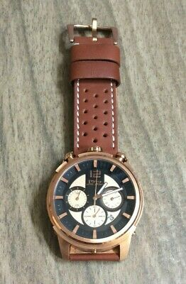 $121.50 • Buy Daniel Steiger Dominion Men's Rose Gold Watch Black Dial Brown Leather Band New!