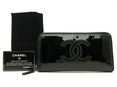 d845191085bf CHANEL Authentic CC Leather Black Clutch Zip Around Purse Wallet Auth •  367.00$