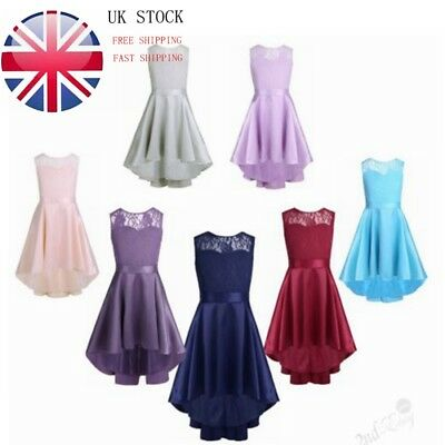 UK Girls Lace High-Low Flower Girl Dress Princess Wedding Bridesmaid Party Prom • 17.99£