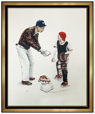 $ CDN3693.73 • Buy Norman Rockwell Hand Signed Color Lithograph Baseball School Days Folio Portrait