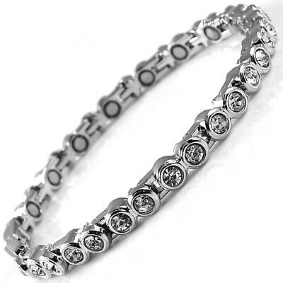 MAGNETIC BRACELET 16 MAGNETS Pain Relief Arthritis Ladies Womens Silver Clear • 9.95£