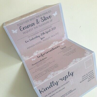 Pretty Pink Lace Day Or Evening Personalised Wedding Invitations With RSVP  • 34.95£