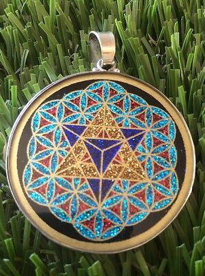 $72 #MerKaBa #Flower Of Life Tourmaline Gemstone Necklace 1.5/8  Sterling Silver • 42.72£