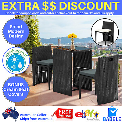 AU260.13 • Buy Gardeon 3 Piece PE Wicker Outdoor Table Chair Set Black Rattan Setting Furniture