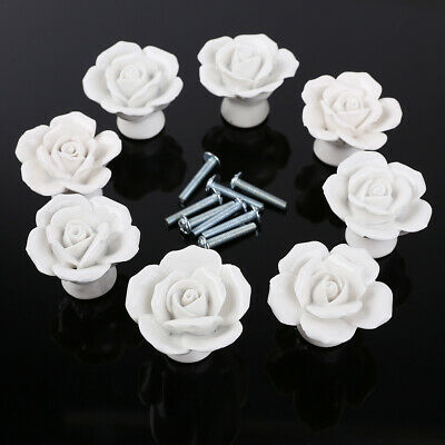 8pcs Ceramic Vintage Flower Rose Door Knobs Drawer Handle Furniture Decoration • 12.99£