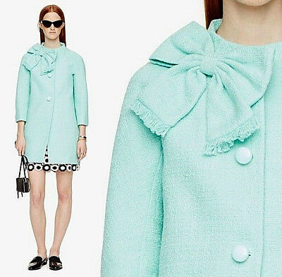 AU453.30 • Buy  Kate Spade 'Dorothy' Bow-front Tweed Bracelet-sleeve Coat Mintlliqieur 0 $548