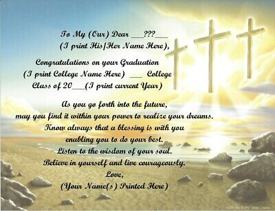 College Graduation Personalized Poems ~ Cross Background~See All 24 Styles • 6.60£
