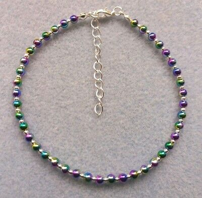 £3.25 • Buy Rainbow Bead Ankle Bracelet Anklet 9  With Extender Chain Sparkly, Like Stardust