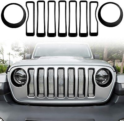 AU87.29 • Buy Front Grille Trim Cover & Headlight Cover Trim For 2018-2020 Jeep Wrangler JL
