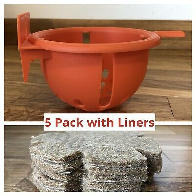 5 X PLASTIC LARGE CANARY NEST PAN & JUTE LINERS For NESTING CANARIES, FINCH BIRD • 10.95£