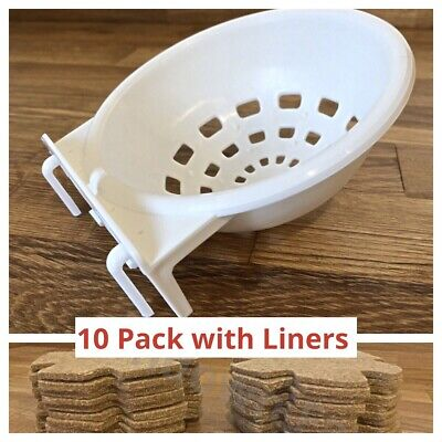 10 X Canary Nest Pans 10cm & Jute Liners For Cage Aviary Hanging Canaries Etc • 15.95£