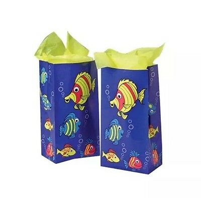 Lot Of 12 Tropical Fish Paper Party Favor Treat Bags Luau • 5.01£