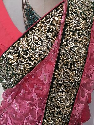 £49.95 • Buy Gorgeous Bollywood Net Saree Exclusive Party Wedding Perfect Combination.