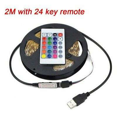 $6.90 • Buy SMD5050 2M RGB Waterproof USB LED Strip Light 24 Remote TV Background Lighting