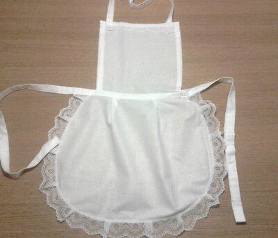 £6.99 • Buy  LADIES WHITE FULL COTTON APRON PINNY LACE   VICTORIAN MAID Fancydress Hen Party