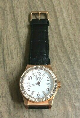 Daniel Steiger Carousel Men's Watch Rose Gold Crystals Black Leather Band New! • 121.50$