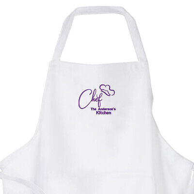 Personalised Ladies/ Mens Quality White Embroidered Chef Design Cooking Apron • 13.50£