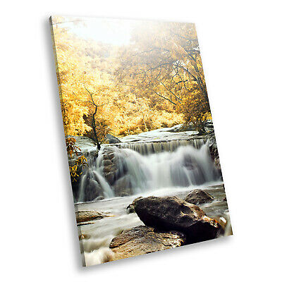 Yellow Forest Waterfall Cool Portrait Scenic Canvas Wall Art Picture Prints • 14.99£