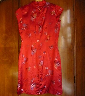 £10 • Buy Girl's Dress Age 14 Size 6 Teen Id:x Red Chinese Silk Embroidered Short Sleeve