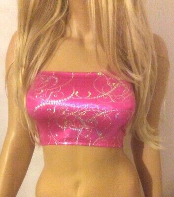 £5.99 • Buy Pink Silver Boob Tube Top Strapless Shiny Vest Bandeau Club Party Crop Vest A104