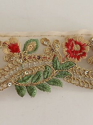 Indian Pink & Green Floral Embroidery On Fine Fabric Cutwork Edge Trim/lace-1mtr • 4.50£