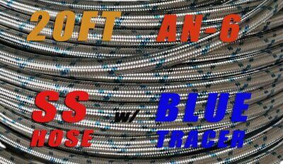 AU67.88 • Buy AN6 AN-6 (3/8 ) STAINLESS STEEL Blue Tracer BRAIDED OIL FUEL LINE HOSE - 20ft
