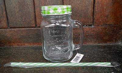 Lidded Mason Jar / Drinking Jar With Handle And Straw - Assorted Colours - BNWT • 2.99£