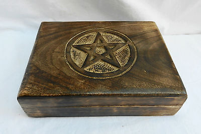 £9.99 • Buy Hand Carved Wooden Tarot Card Storage Box / Wooden Box With Pentagram Lid