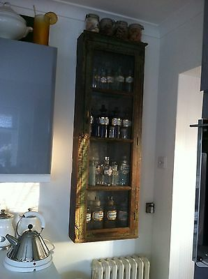 £1550 • Buy Antique Slim Glass Front Cabinet+ 20 Old Victorian Apothecary Bottles Displayed.