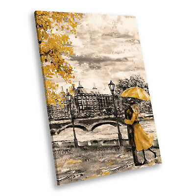 Portrait Scenic Photo Canvas Picture Print Wall Art Yellow Black White London • 9.99£