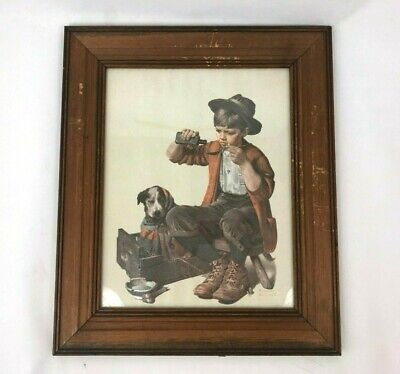 $ CDN26.17 • Buy Norman Rockwell A Boy And His Dog Medicine Canvas Print Wooden Frame Framed