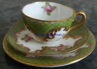 CROWN STAFFORDSHIRE Porcelain MINIATURE PINK ROSES CUP SAUCER PLATE TRIO 3063 • 50£