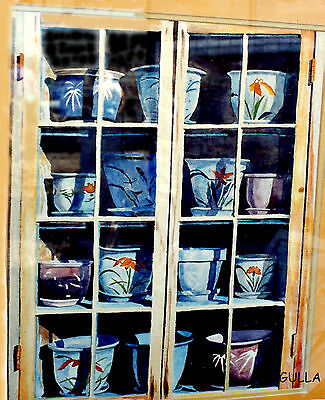 THE POTTERS WINDOW  NEW STILL LIFE WATERCOLOR PRINT By GULLA, SOLD  BY ARTIST • 11.54£