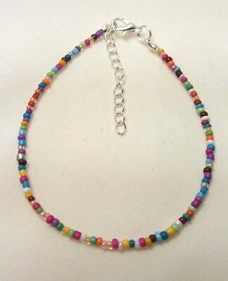 £1.99 • Buy Rainbow Opaque Handmade Seed Bead Ankle Bracelet Chain Anklet 9  + Extender