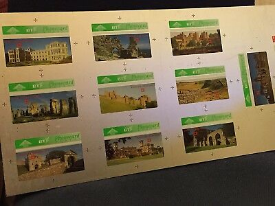 BT Phonecard - Rare Proof Sheet Uncut -  ENGLISH HERITAGE • 99£