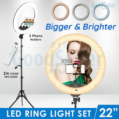 AU89.89 • Buy 19  5500K Dimmable LED Ring Light Diffuser Stand Make Up Studio Lighting Video