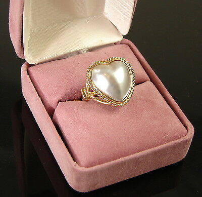 $474.95 • Buy Cultured Heart Mabe Pearl Ring 14K Yellow Gold Size 5 1/2  NWOT