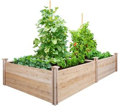 Raised Garden Bed Cedar Frame Expandable, Rot Resistant 4 Ft. X 8 Ft. X 17.5 In. • 168.91£