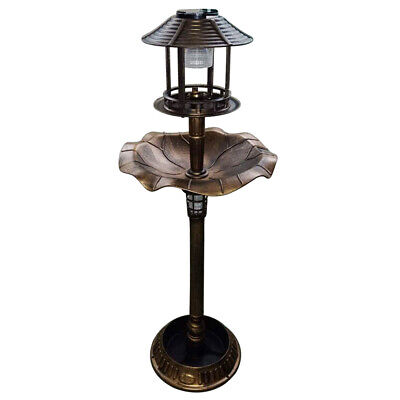 Garden Bird Bath Feeding Station Planter Solar Powered Light Ornament Copper Eff • 149.99£