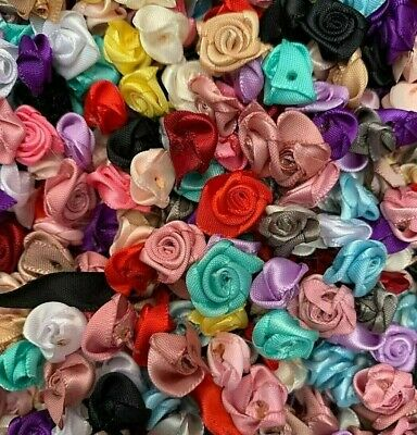 100 X JUST ROSE BUDS SATIN RIBBON FLOWERS ROSEBUDS FLOWERS SCRAPBOOKING  • 3.99£