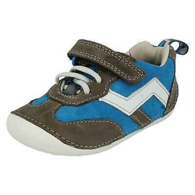 Boys Infants Clarks Cruiser Play Hook & Loop Casual Trainers First Shoes Size • 15£