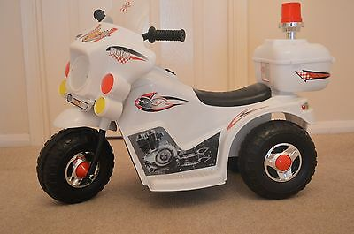 Kids Police Electric Bike Childs Ride On Buggy Motorbike New WHITE  • 49.99£